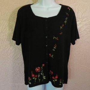 Jaclyn Smith Women's Cardigan Sweater L Black